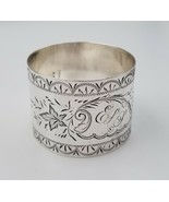 """Sterling Silver Napkin Ring Bright Cut Plant Design 1 1/4"""" x 1 5/8"""" by R... - $127.71"""