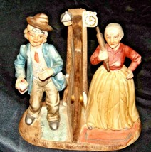 Man and Woman Figurine with God Bless Our Home AA19-1652 Vintage image 1