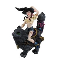 PTC Pacific Giftware Transpurrtation Witch Riding a Cat Statue Figurine,... - £31.32 GBP