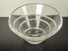 Modern STIFFEL Acoustic Pattern Cut Crystal Centerpiece Bowl - $85.00