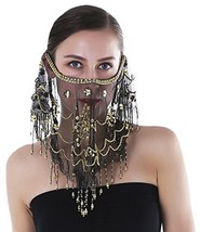 Seawhisper Arabian Belly Dance Sequins Tribal Face Veil with Beads Hallo... - $14.62