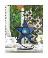12 Sapphire Blue Star Lanterns on Matte Black Swirl Stands Wedding Cente... - $174.95