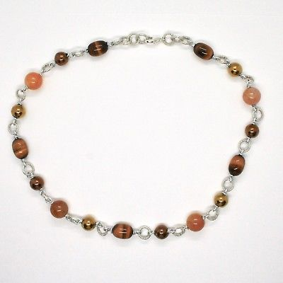 NECKLACE THE ALUMINIUM LONG 48 CM WITH TIGER'S EYE JADE AND HEMATITE