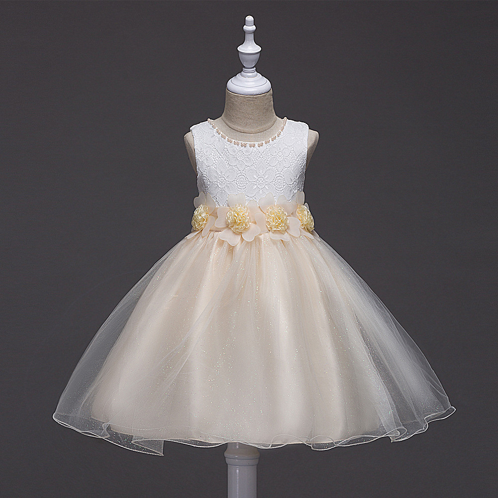 Pricess Pageant Girl Dress 2018 Champagne Tulle Flower Girl Dresses Short Party