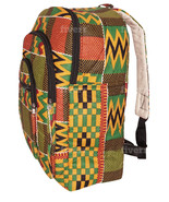 African Kente Cloth Adult Sized Backpack Green Orange Red - $49.00