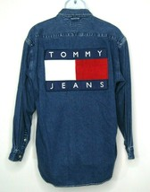 VTG Tommy Hilfiger Mens Denim Shirt Big Flag Tommy Hilfiger Crew Spellou... - $93.14