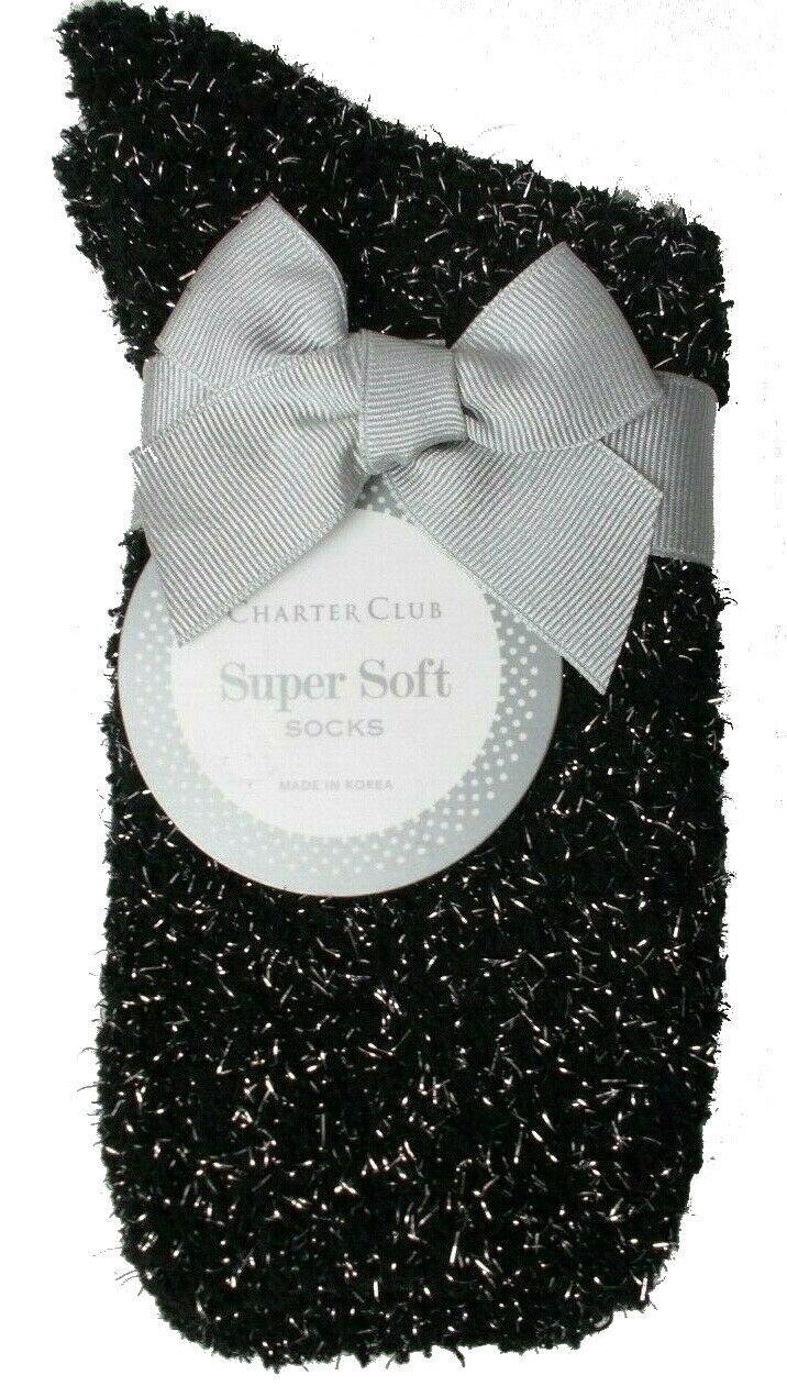 Charter Club Women's 1-Pair Metallic Black Silver Fuzzy Cozy Socks Sz 9-11 NEW