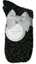 Charter Club Women's 1-Pair Metallic Black Silver Fuzzy Cozy Socks Sz 9-11 NEW
