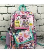 School Backpack Lunch Bag Water Bottle Pencil Case Confetti BUTTERFLY 5 ... - $17.81