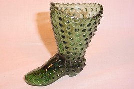 "VINTAGE FENTON GREEN GLASS 4"" HOBNAIL BOOT MATCH HOLDER TOOTHPICK HOLDER - $28.70"