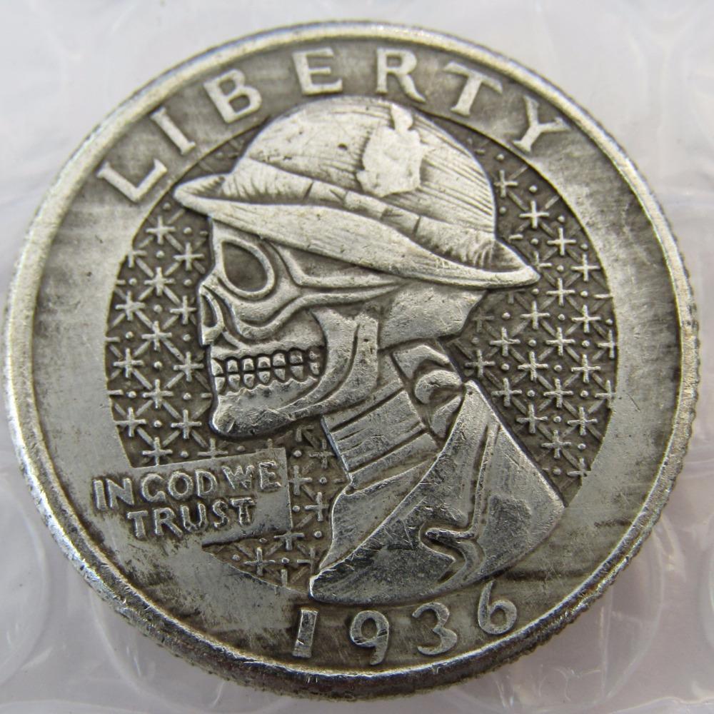 Rare 1936 Washington Quarter Dollars skull zombie skeleton hand carved - $11.99