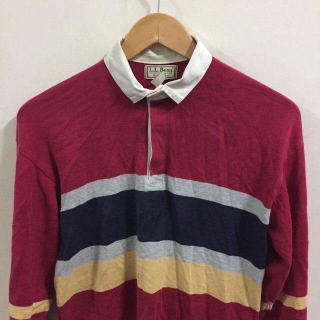 d0d760a59 Vintage LL Bean Polo Shirt Long Sleeve L USA Color Block Rugby Freeport,  Maine