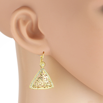 UE- Gold Tone Drop Earrings With Lace Cut-Out Design & Swarovski Style C... - $17.99