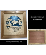 """Scroll Saw Art Mike Wilson Woodwork Dolphins Play 13"""" x 14"""" Framed - $34.99"""