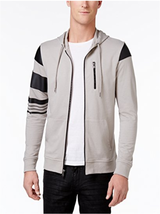 INC Men's Zip-Front Hoodie with Faux-Leather Piecing, Smoked Silver, L - $29.69