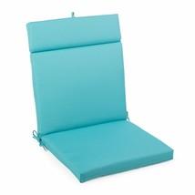 "Aqua Blue Outdoor Patio Chair Cushion Pad Hinged Seat & Back 44"" L x 22"" W - $58.90"