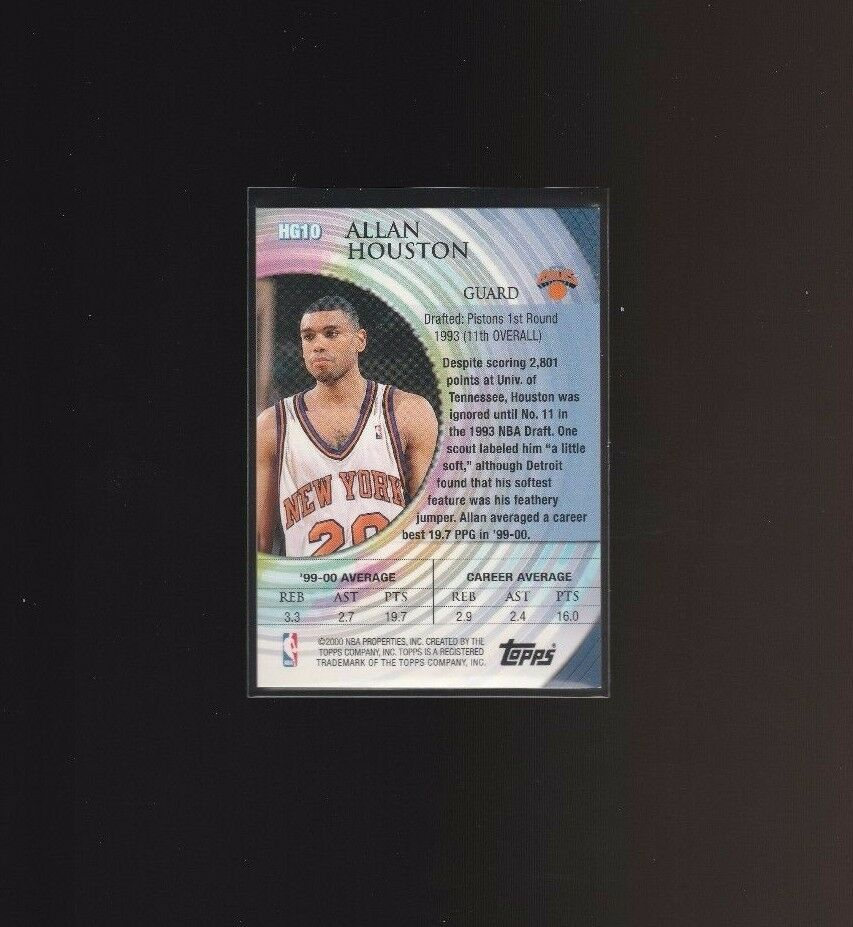 2000-01 Topps Hidden Gems #HG10 Allan Houston New York Knicks