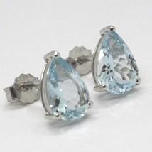 White gold earrings 750 18k aquamarine drop 2.24 carats image 2