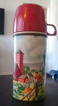 """1962 American Thermos Co Metal Bottle No 2046H Horse Farm Barn Pets Pals 8"""" - $6.80"""