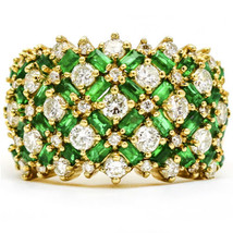 4.10 Carat Yellow Gold Diamond Emerald 14k Wide Band Ring - $5,148.00