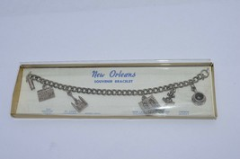 Vintage New Orleans Souvenir Gold Tone Charm Style Bracelet 7 Inches  N.O.S - $22.40