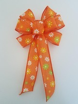 "4 Small 5-6"" Hand Made Orange Daisy Bows -  Indoor Wreath Spring Summer ... - $12.38"