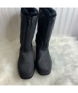 Totes Womens Sz 10 Chromatics Black Front Zip Fur Lined Boots 55053 - $37.39