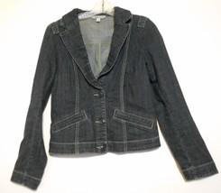 Cabi Jeans Small Dark Blue Washed Denim Cotton Three Button  Front Jacket - $15.10