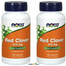 2 x NOW FOODS Red Clover 375 mg 100 Caps, Herbal Supplement, FRESH Made In USA - $30.68
