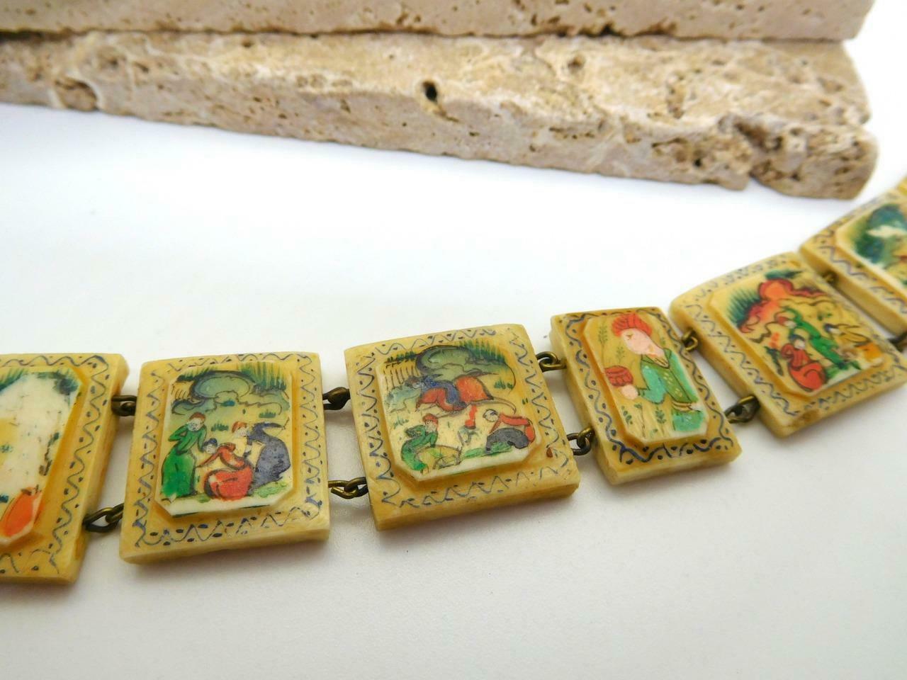 Vintage Hand Painted Oxen Bone Persian Story Panel Bracelet N24 image 2
