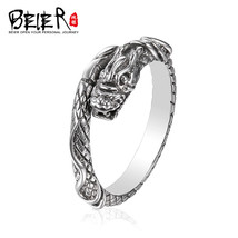 925 silver sterling jewelry punk domineering double dragon opening man ring - $35.00