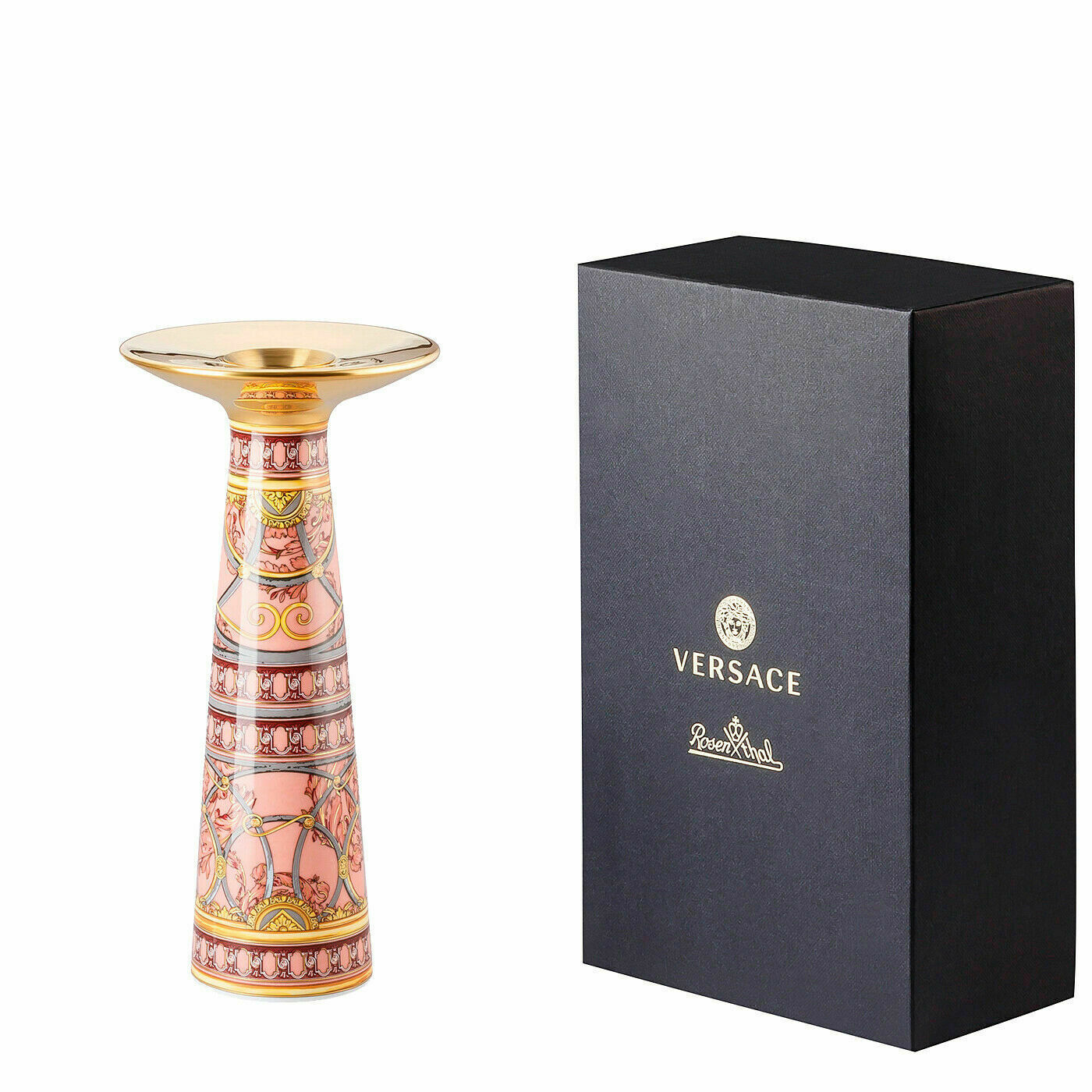 Primary image for Versace Rosenthal Porcelain Vase/Candleholder Scala Palazzo Rosa 20cm/8 Inch NEW
