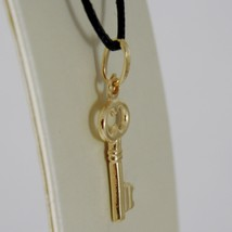 18K YELLOW GOLD FLAT KEY SMOOTH PENDANT CHARM, LUCKY, SECRET, LOVE MADE IN ITALY image 2