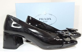 Prada Flower Low Heel Black Leather Pump  Logo Shoe 37.5- 7.5 - $346.00