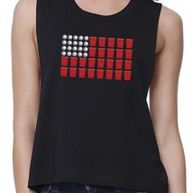 Beer Pong Flag Funny 4th of July Shirt Womens Black Cotton Crop Tee image 2