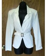 Avon White Eyelet Blazer Belted Jacket Large Summer Classic tiny mark on... - $19.76