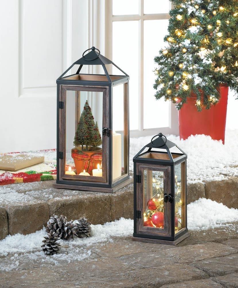 Metal Candle Holder Lantern, Large Wooden Trim Contemporary Lantern Candle Holde