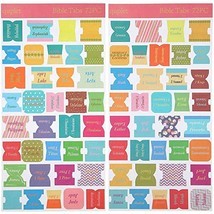 72 Pieces Bible Tabs, Peel and Stick Decorative Bible Tabs 66 Book Tabs, 6 Blank
