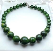 Vintage Plastic Bakelite Graduated Beads Necklace Dark Swirl Marbled Green - $108.90