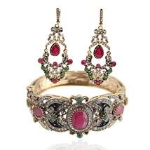 Women Turkish Bracelet Bangle Earrings Sets Red Stone Islamic Vintage Retro Gift - $12.19