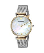 Emporio Armani Womens Watch AR2068 Pearl Silver Stainless Steel Analog Q... - $159.00