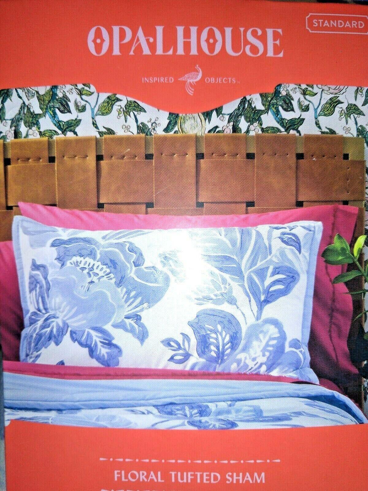 Floral Print Tufted Pillow Sham Blue - Opalhouse Standard 1 Sham  STORE NEW!