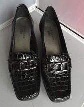 Anne Klein Lonna iFlex Wedge Loafers Croc Black Size 9.5M - $24.95