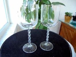 """Set of 2 Elegant Beaded Stem Wine Glasses 8 1/8"""" Tall - $26.72"""