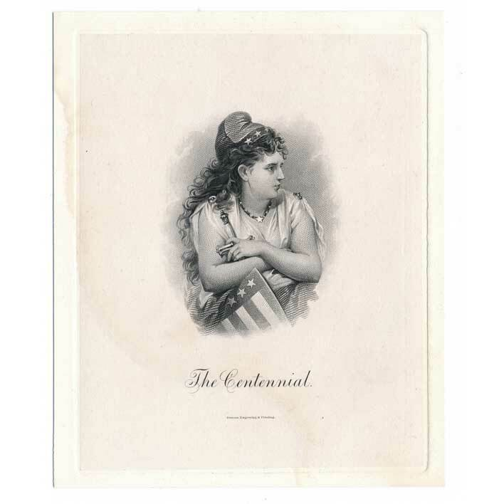 "Primary image for ""The Centennial"" Die Proof Vignette by Charles Burt 1876 Liberty Josie Mansfield"