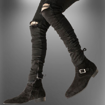Handmade Men Black Suede Monkstrap Shoes image 5