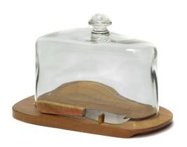 Mid Century Modern MCM Teak Glass Cheese Dome Board Sweden Karl Holmberg... - $44.52
