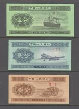 China 1953 5 + 2 + 1 Fen Banknotes set 3.Uncirculated. - $4.52