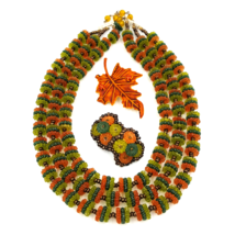 West Germany Vintage Necklace and Earring Set with Fall Leaf Brooch - $45.00