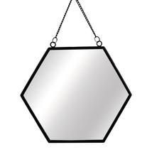 Hexagon Modern Monochrome Black Hanging Mirror - $28.00
